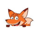 Fox holding and looking over a blank sign board. Clipart picture of a fox cartoon character holding and looking over a blank sign board royalty free illustration