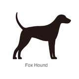 Fox Hound dog silhouette, side view, vector illustration Royalty Free Stock Photography