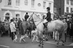 Fox hunting protest, England. The Ashford Valley Hunt assemble for their Boxing Day meet in the High Street at Tenterden in Kent, England on December 26, 1992 stock photography