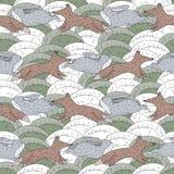 Fox i królika tła pościgowy bezszwowy wzór Zdjęcia Royalty Free