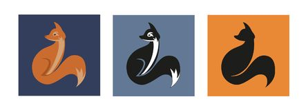 Fox Icon Variation. Elegant Fox icon. Editable vector in Color and Black White royalty free illustration