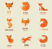 Fox icons, illustrations and elements Stock Photography