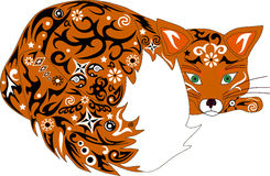 The fox an illustration, an animal orange, Royalty Free Stock Photography