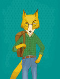 Fox illustration in clothes. Red fox in glasses in shirt and jeans holding a backpack Stock Image