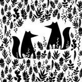 Fox illustration orange wild animal cartoon art  wildlife Stock Images