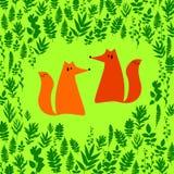 Fox illustration orange wild animal cartoon art  wildlife Stock Image