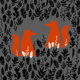 Fox illustration orange wild animal cartoon art  wildlife Royalty Free Stock Photos
