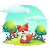 Fox im Gras - eine Karikaturillustration der Kinder lizenzfreie abbildung