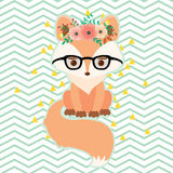 Fox In Glasses In Floral Wreath Stock Photos