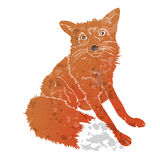 Fox isolated texturized on white background. Vector zoo Stock Photo