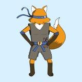 Fox jest ubranym ninja kostium Ilustracji