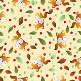 Fox and leaves on a beige background Royalty Free Stock Photos