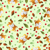 Fox and leaves on a green background Royalty Free Stock Images