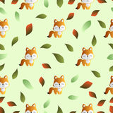 Fox and leaves on a green background Stock Photography