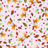 Fox and leaves on a pink background Stock Photos