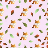 Fox and leaves on a pink background Royalty Free Stock Image