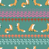 Fox leaves seamless repeat pattern stock illustration