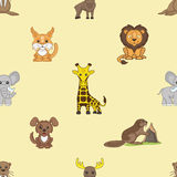 Fox, lion, elephant, giraffe, elk, walrus, beaver and dog. Royalty Free Stock Photography