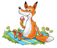 Fox lody bajki zabawy mata ilustracja wektor