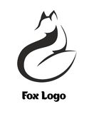 Fox logo. Minimal black and white artistic illustration of a fox,  hinting at ears, nose and tail, White background with text 'Fox Logo Royalty Free Stock Image