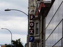 Fox 7 Logo on the side of a building stock photo