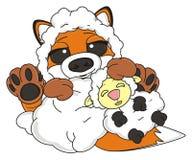 Fox lying with lamb Royalty Free Stock Photos