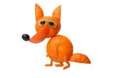 Fox made of orange. On isolated background stock image