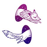 Fox in magic teleport. Linear drawing in bright vibrant gradient color. Illustration of a flying fox through a hole or portal. Teleportation. Fantasy hand drawn royalty free stock images