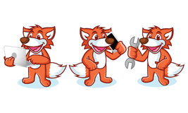 Fox Mascot Vector with phone Royalty Free Stock Photos