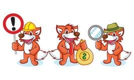 Fox-Maskottchen-Vektor mit Geld Stockfotos
