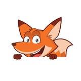 Fox mienie i patrzeć nad pustą znak deską royalty ilustracja