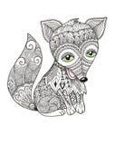 Fox mignon dans le style de zentangle Images stock