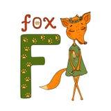 Fox mignon de bande dessinée dans une robe avec un coq Images stock