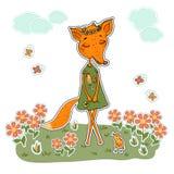 Fox mignon de bande dessinée dans une robe avec un coq Images libres de droits