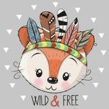 Fox mignon de tribal de bande dessinée avec des plumes illustration stock