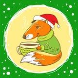 Fox mit einer Schale Kakao stock abbildung