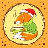Fox mit einer Schale Kakao vektor abbildung