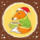 Fox mit einer Schale Kakao lizenzfreie abbildung