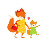 Fox Mom In Dress With Handbag Animal Parent And Its Baby Calf Parenthood Themed Colorful Illustration With Cartoon Fauna Royalty Free Stock Photography