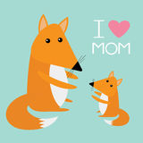 Fox mother and baby. Cute cartoon character set. Forest animal collection. Pink heart I love Mom text Blue background. Greeting ca Stock Image
