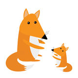 Fox mother and baby. Cute cartoon character set. Forest animal collection. White background. Isolated. Flat design Royalty Free Stock Photography