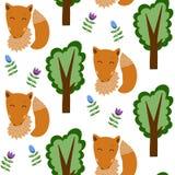 Fox nel modello senza cuciture della foresta Immagine Stock