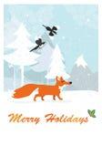 Fox nella foresta di inverno Immagini Stock