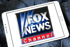 Fox news channel logo. Logo of fox news channel on samsung tablet royalty free stock photos