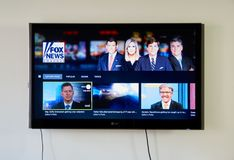 Fox News on LG TV screen. MONTREAL, CANADA - NOVEMBER 15, 2017: Fox News on LG TV screen. Fox News is an American basic cable and satellite television channel Stock Images