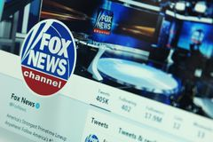 Fox News on twitter. Official account of Fox News on social media network twitter. Fox News is a United States basic cable and satellite television news channel stock image