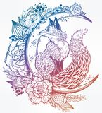 Fox on night floral crescent moon in vinatge style Stock Images
