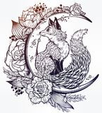 Fox on night floral crescent moon in vinatge style Stock Image