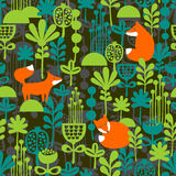 Fox in night forest seamless pattern Stock Photo