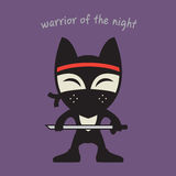Fox Ninja in black clothes and mask icon. Vector illustration Stock Images